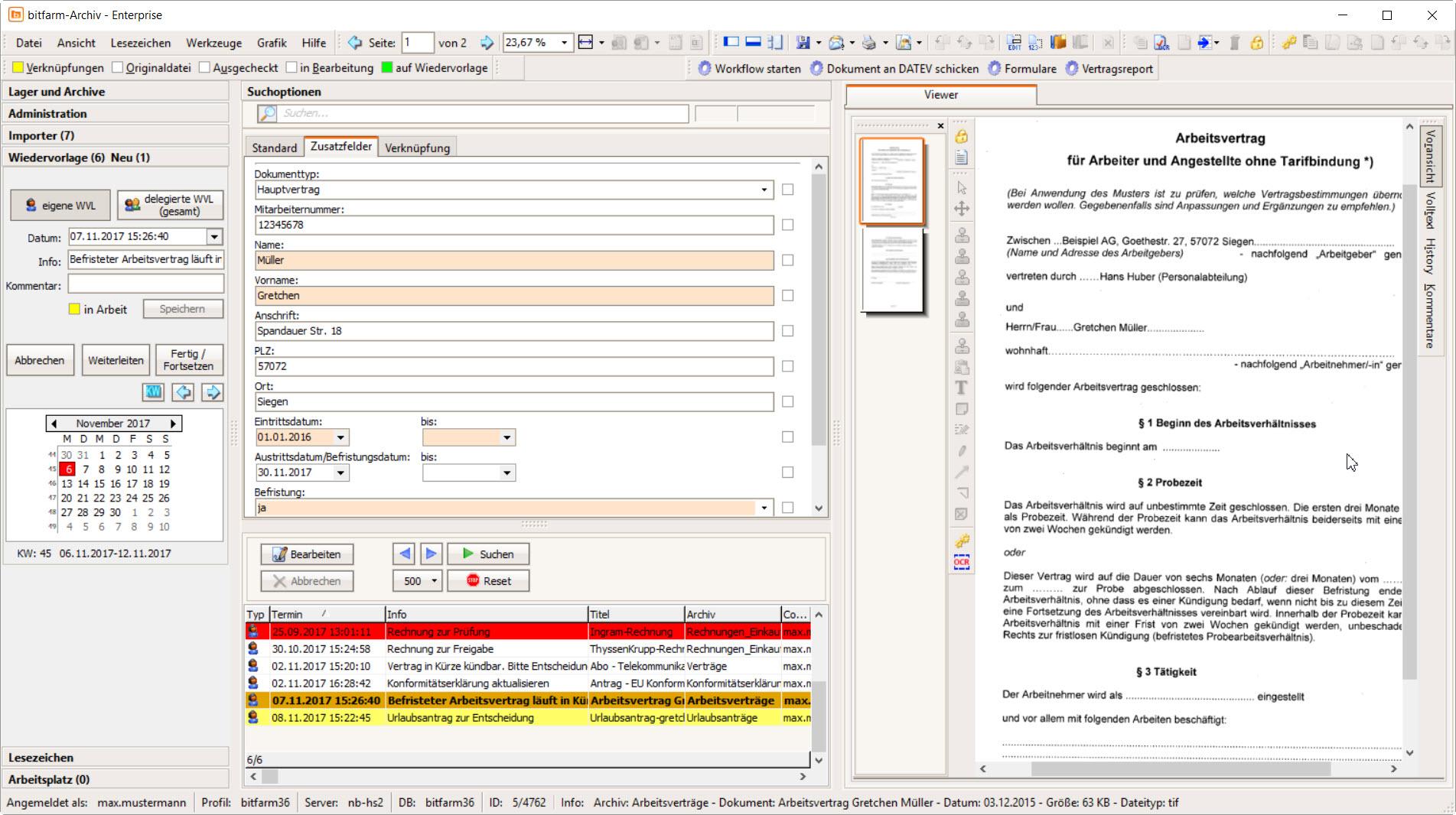 Bitfarm Archiv Dokumentenmanagement Screenshots